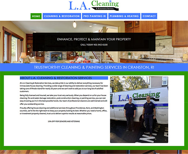 cleaning and restoration website design